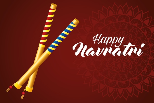 Happy navratri celebration card with