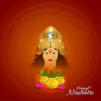 Happy navratri celebration greeting card with goddess durga illustration