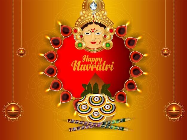 Happy navratri celebration greeting card with vector illustration of goddess durga