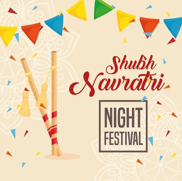 Плакат с праздником наваратри, ночной фестиваль с декором