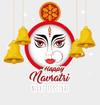 Happy navratri celebration poster, night festival with durga face