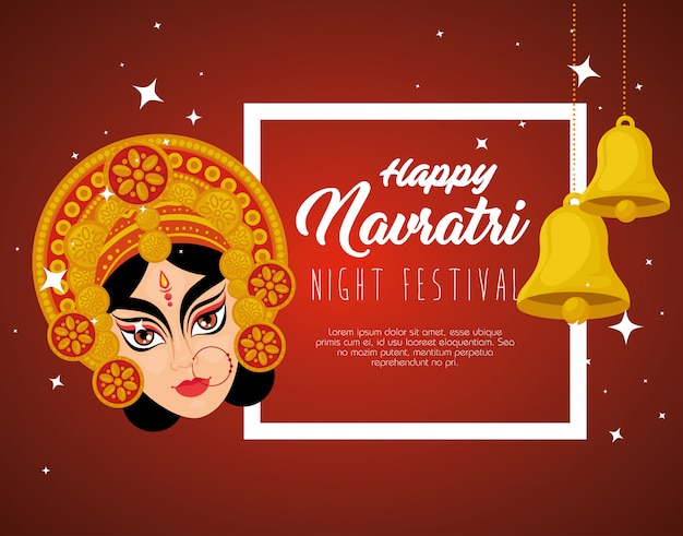 Happy navratri celebration poster with durga face and bells hanging