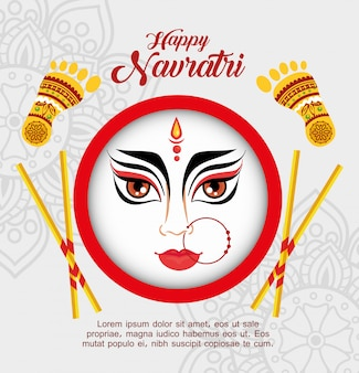 Happy navratri celebration poster with face durga