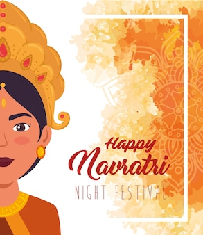 Maadurgaイラストデザインの半分の顔と幸せなナヴラトリのお祝いのポスター