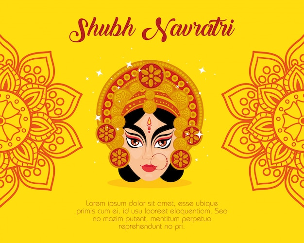 まぁドゥルガーとマンダラの装飾が施された幸せなナヴラトリお祝いポスター