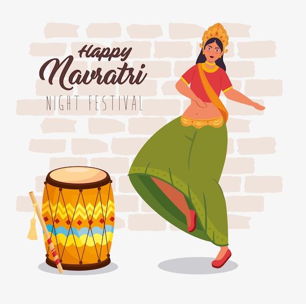 Happy navratri celebration poster with maa durga dancing and drum illustration design