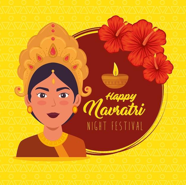 Happy navratri celebration poster with maa durga and flowers decoration illustration design