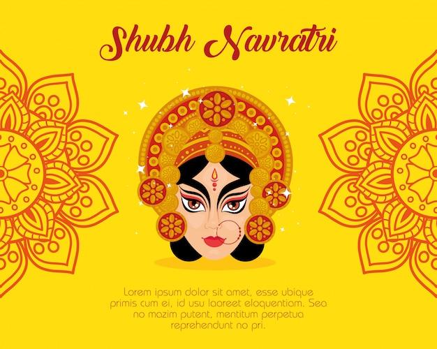 Happy navratri celebration poster with maa durga and mandala decoration