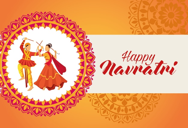 Happy navratri celebration with dancers in mandala vector illustration design
