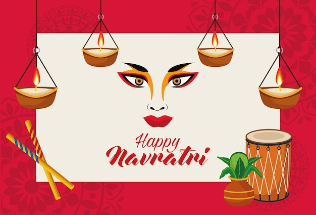 Happy navratri celebration with goddess amba face and candles hanging vector illustration design