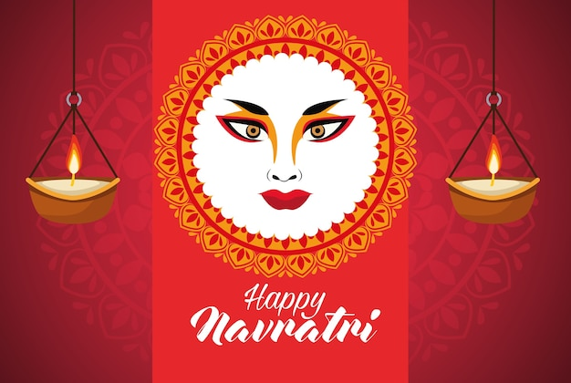 Happy navratri celebration with goddess amba face and candles vector illustration design