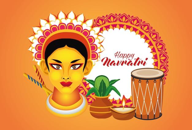 Happy navratri celebration with goddess amba and set elements vector illustration design