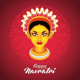 Happy navratri celebration with goddess amba vector illustration design
