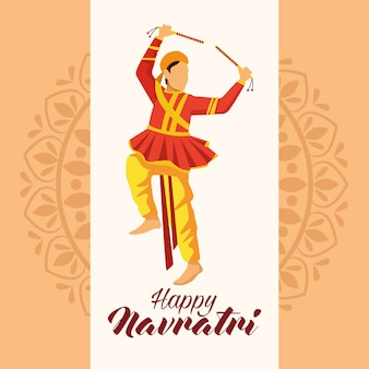 Happy navratri celebration with man dancer vector illustration design