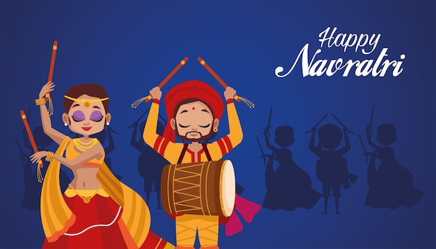 Happy navratri celebration with woman dancing and man playing drum