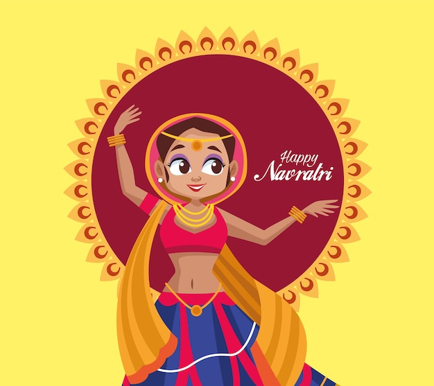 Happy navratri celebration and woman dancing