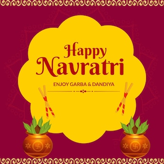Happy navratri enjoy garba and dandiya banner design template