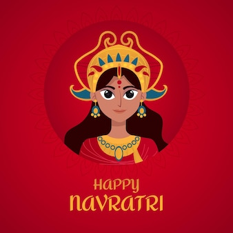 Happy navratri event flat design