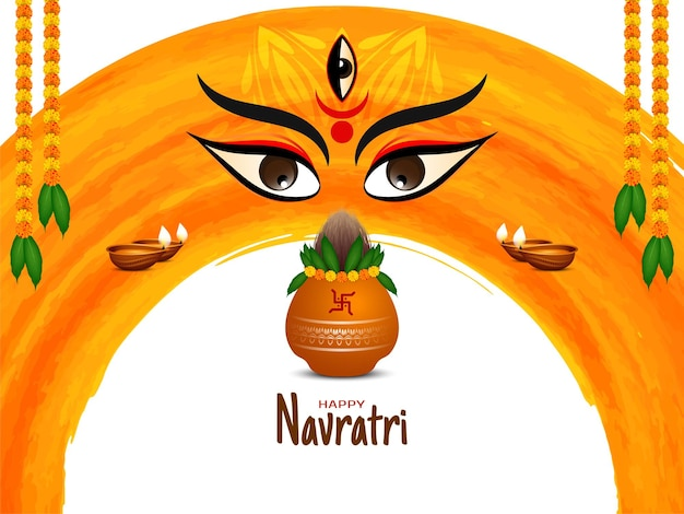Happy navratri festival background with goddess face design and kalash vector