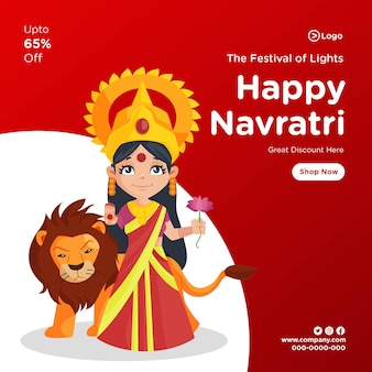 Happy navratri festival banner design template