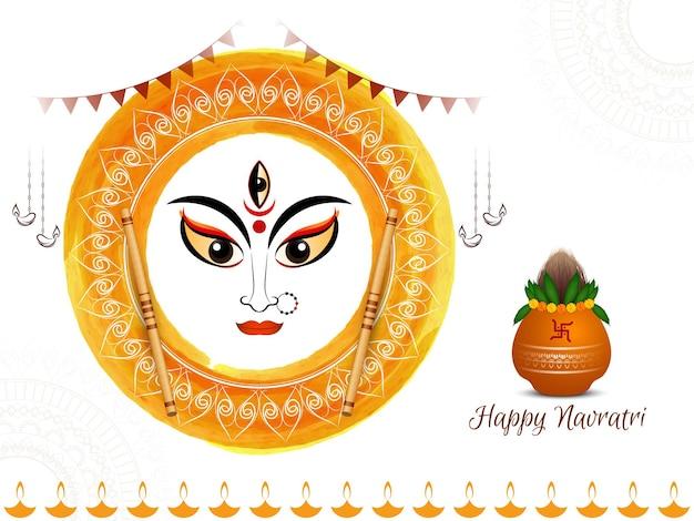 Happy navratri hindu festival background with kalash and dandiya vector