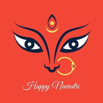 Happy navratri illustration with maa durga face