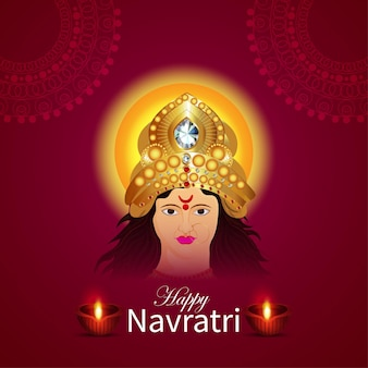 Happy navratri indian festival celebration greeting card with illustration