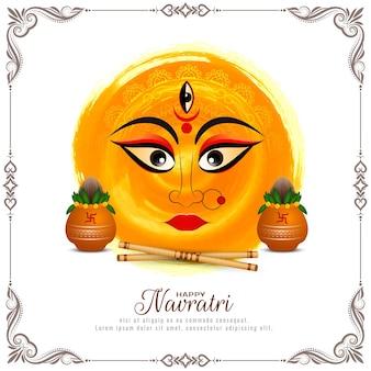 Счастливый навратри индийский индуистский фестиваль религиозное приветствие фон вектор
