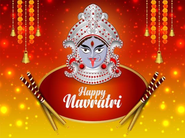 Happy navratri indian religious festival celebration card