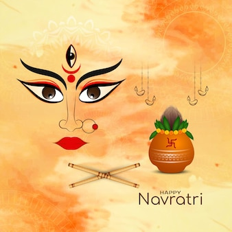 Happy navratri religious indian festival traditional background vector