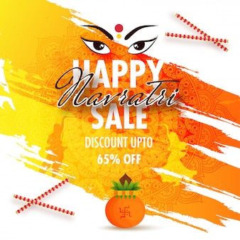 Happy navratri sale flyer design with 65% discount offer.