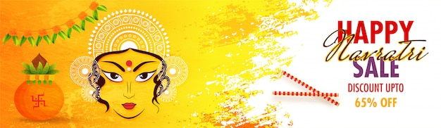 Happy navratri sale header or banner design.