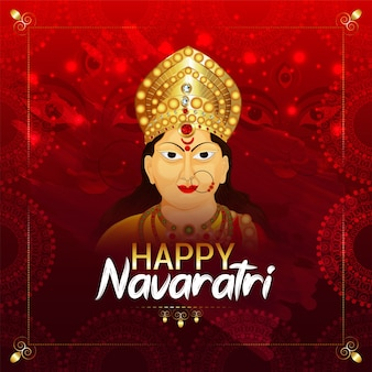 Happy navratri with goddess durga face