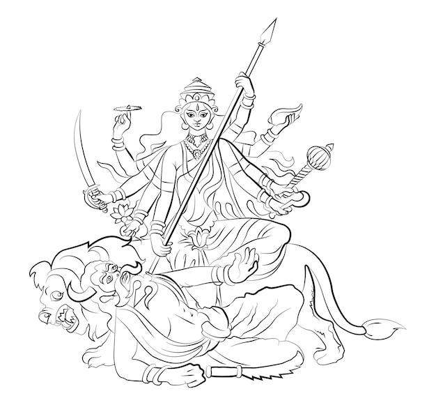 Happy navratri worship of hindu godess durga maa or kali ma scalable vector illustration