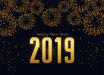 Happy new 2019 year fireworks celebration background