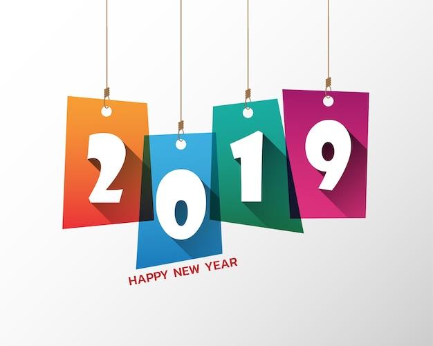 2019 년 새해 복 많이 받으세요. 인사말 카드. 화려한 디자인. 벡터 일러스트입니다.