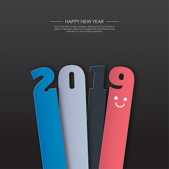 Happy new 2019 year. greetings card. colorful design.