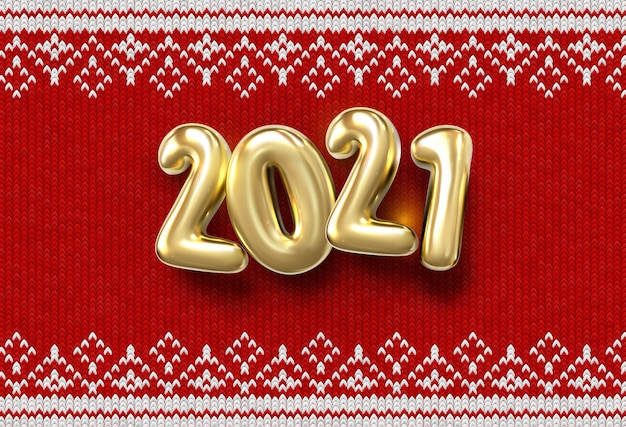 Happy new 2019 year. holiday   illustration of golden numbers 2021 on red knitted background with confetti. realistic sign. fabric with traditional ornament