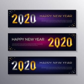 Happy new 2020 year banner templates