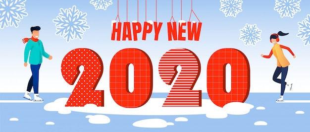 Happy new 2020 year celebration vector concept