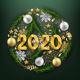 Happy new 2020 year decorative postcard, baubles and fir branches decoration background
