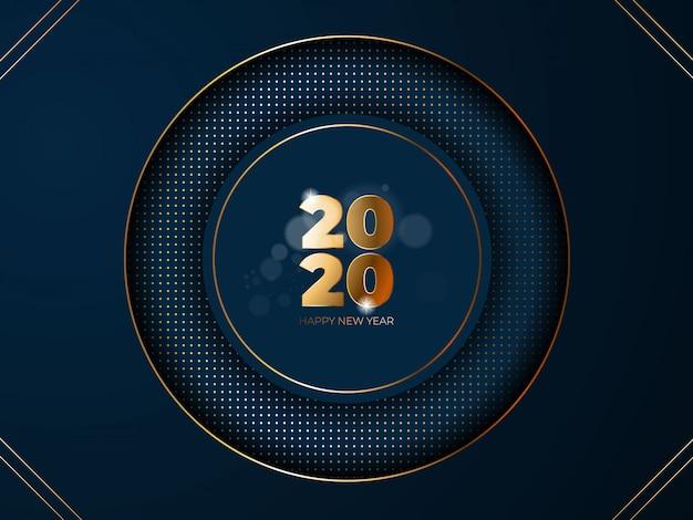 新しい2020年になりますように!光とエレガントなゴールドテキスト。ミニマルなテンプレート。