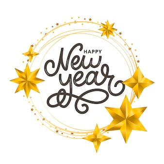 Happy new 2020 year golden wreath