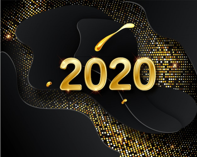 Happy new 2020 year greeting card with golden numbers on black