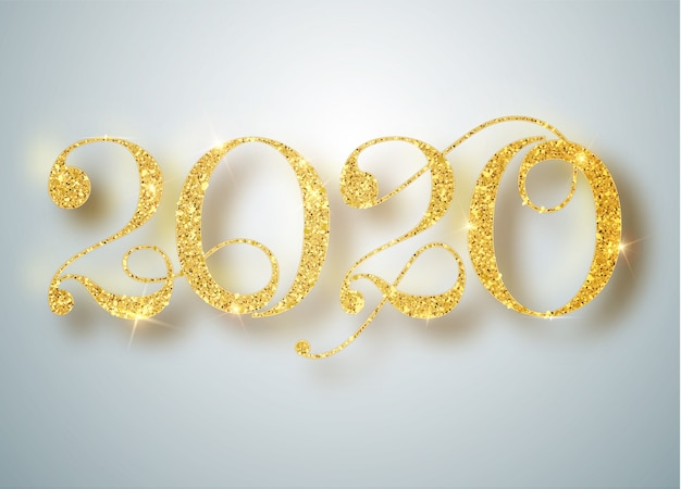 Happy new 2020 year. holiday   of golden metallic numbers 2020. realistic sign. festive poster or banner