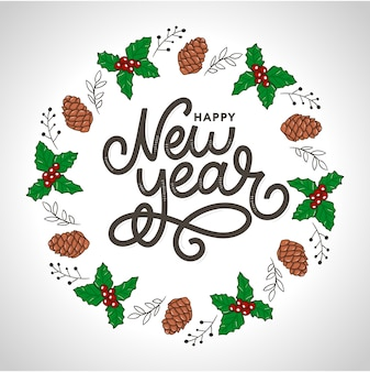 Happy new 2020 year. holiday  illustration with lettering composition with burst christmas