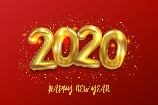 Happy new 2020 year. holiday vector illustration of metallic golden balloons numbers 2020