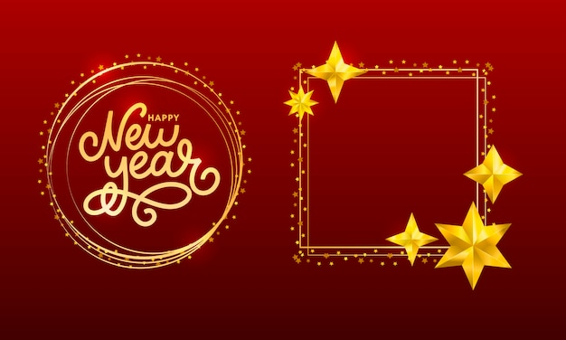 Happy new 2020 year. holiday vector illustration with lettering composition with burst christmas