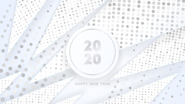 Happy new 2020 year of silver geometric triangle shapes and sparkling glitters pattern