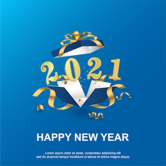 Happy new 2021 year background with gift bx